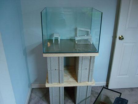 Cinder block aquarium stand